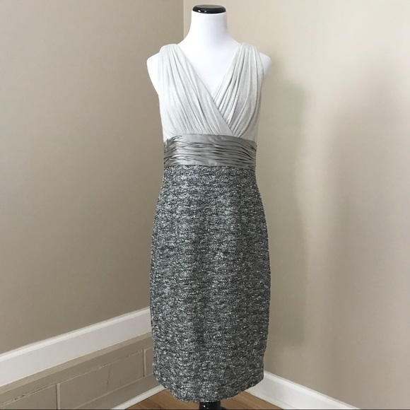 653eb12abb5 Kay Unger Dresses   Skirts - Kay Unger Silver Tweed Cocktail Sheath Dress